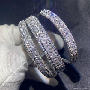 Sparkling New Arrival Luxury Jewelry 925 Sterling Silver Fill Pave White Sapphire CZ Diamond Women Wedding Bangle Finger Bracelet Gift