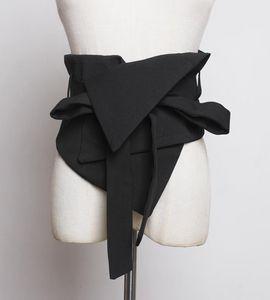Moda donna cinture nero vestito tessuto sottile corsetto cinturino camicia vestito cinghia cinghie di autocircografia irregolare larga cintura larga caestus