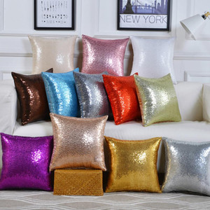 11 colors glitter sequins pillow case solid color cushion home car comfortable decor waist cushion cover Bling Shining pillowcase FFF3642