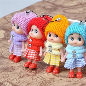 8CM Clown Mobile Phone Pendant Plaid Skirt Knitted Hat Lovely Doll Mini Girls Ornaments Toys Gift Dolls Originality 0 6yg F2