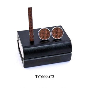 Wood Cufflinks Tie Clips Set French Men Wood Gift Alloy Copper Necktie Bar Groom Wedding Business Party Wooden Neck Tie Bar Q sqclzJ