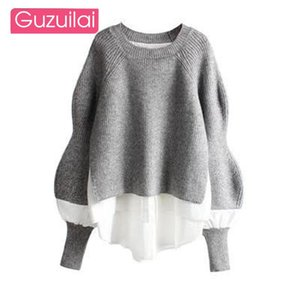 Guzuilai европейская и американская мода свитер верхняя шить рубашка поддельные две части женский западный стиль вязаные одежды