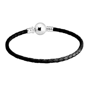 Sterling Silver Ball Clasp Black Leather Charms 925 Bracelet for Women DIY Jewelry Gift pulseras mujer free shipping LJ2