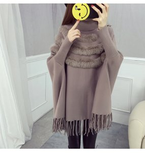 Luxury Women Turtleneck Thick Cloak Pullovers Fall Winter Batwing Sleeve Knitted Patchwork Rabbit Hair Tassel Cape Loose