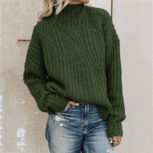 Sweater for Women Turtleneck Pullovers Fashion Solid Long Sleeve Sweater Loose Knitting 2020 Winter Clothes Oc6