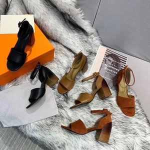 2020 new summer leather coarse heel sandals luxury designer women's shoes party professional sexy sandals size 35-41 with box