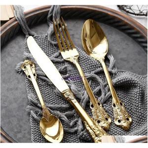 Vintage Western Gold Cutlery Cutlery Dining Facas Forquilhas Teaspoons Definir Gravura de Luxo Dourado Gravura T Sqcvid Wphome