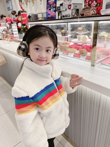 high quality Autumn Winter Girls boys Plush Coats Kids Soft Turtleneck Outwear Keep Warm Children'S Coral Fleece Zipper Jackets