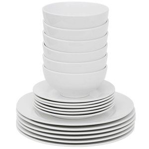 Details about White 18-Piece Kitchen Dinnerware Set Include 6PCS Bowls 12PCS Dishes