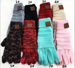 9 цветов вязания сенсорного экрана перчатки емкостные перчатки женщины зимние теплые шерстяные перчатки противоскользящие вязаные телевизирующие перчатки новогодние подарки