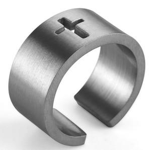 Oro plata 2color hombres punk vinatge moda de moda marca cruz retro ring anillo de acero inoxidable de acero inoxidable hip hop banda de roca accesorios de regalo