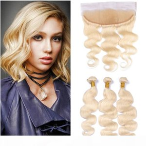 Russian Blonde Human Hair 3Pcs Bundles with Frontal Body Wave #613 Bleach Blonde Weaves Virgin Hair Wefts with 13x4 Lace Frontal Closure