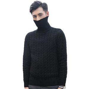 Suéter de cuello alto Hombres otoño invierno espeso sólido sólido delgado de alta calidad de yq ropa de punto casual de punto doble color caliente venta caliente