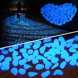 100pcs Jardín Decoración Piedras luminosos brillan en la oscuridad decorativo de piedras de pescado al aire libre del tanque decoración Pebble Rocas acuario color de la mezcla H1207