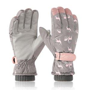 Five Fingers Gloves Women Men Winter Waterproof Snow Ski Thermal Plush Lined Snowboard Mitten 875B