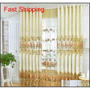 European Top Embroidered Velvet Window Curtains For Living Room High-end Custom Classic Villa Flat Cur qylnrR lyqlove