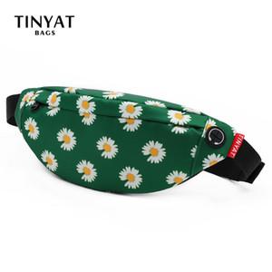 TINYAT Women Print Daisy Waist pack Bag Female Canvas Bag Belt Fashion Casual Belt Pouch Female Travel Banana bags Girl Fanny