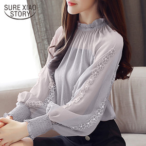 New 2020 Autumn Women Blouses Chiffon Shirt Loose Lantern Long Sleeves Lace Stitching Bottoming Shirt Female Tops Blusa 0792 30