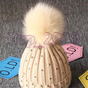 2020 High Quality Winter Children's big ball wool cap knitting cap point drill Baby Hat Baby Pullover caps high quality