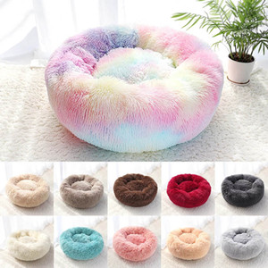 Pet Dog Bed Warm Fleece Round Dog Kennel House Long Plush Winter Pets Dog Beds For Medium Large Dogs Cats Soft Sofa Cushion Mats HH9-3658
