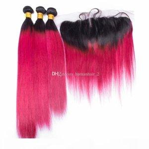8a Малайзийская омбре розовые красные девственницы пакеты волос с кружевной лобной замыканием 1b красный омбре прямые человеческие волосы плетения с кружевом фронтальным