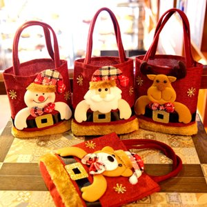 The latest 22X20CM size, Christmas old man style, Christmas gift bag, Christmas snowflake non-woven candy tote bag, free shipping