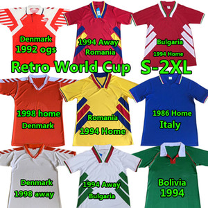 Rétro it Soccer Jerseys Aly 1986 Bolivie Roumanie Accueil 1994 Bulgarie Danemark 92 98 Team National Team Vintage Football Shirts