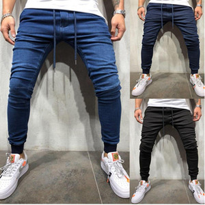 Skinny Jeans Men's Stretchy Wrinkle Biker Pencil Pants Denim Pants Mens Elastic Waist Harem Men Jogger Clothes Patchwork