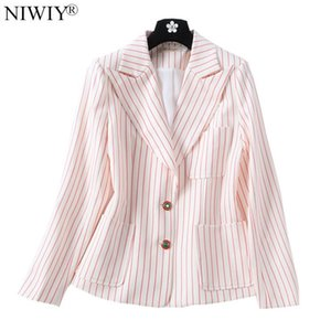 High-end Autumn Striped Women Suit Jacket Casacas Para Mujer Invierno 2020 Oversize Long Sleeve Blazer Casacos Feminino D6080