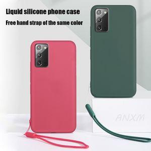 Étui en silicone liquide doux pour Samsung Galaxy S20 Fe S10 S8 Plus Ultra Note 20 10 9 8 Lite Plus Ultra Cover Coque Lanyard