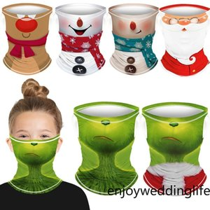 Grinch&Santa Snowman Christmas Festival The Claus Grinch Kids Unisex Outdoor Cycling Neck Scarf Masks Bandana Headband Cosplay Balaclava