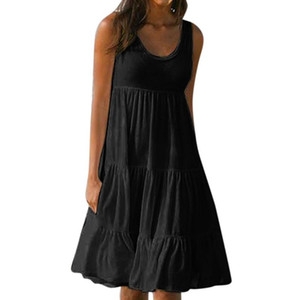 Fashion-Summer Sleeveless Casual Loose Dress Women O-neck Plus Size Beach Holiday Dress with 7 Colors Fashion Style