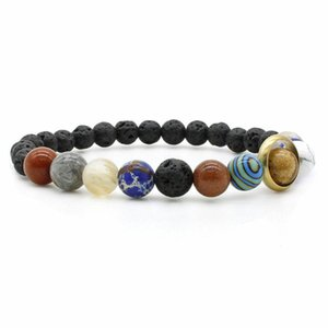 Natural Lava Stone Night Sky Starlight Milky Way Bracelet Eight Planets Bracelets for Men Jewelry Beaded Stretch