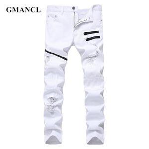 GMANCL Mens Straight Ripped Multi zipper Denim Pants Slim Hip hop Mens Fashion Streetwear High quality Cotton Casual Holes Jeans