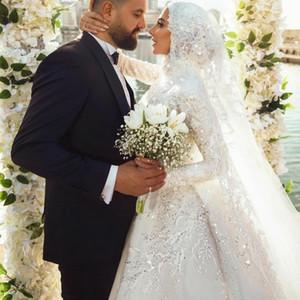 2021 Новые мусульманские свадебные платья кружева с длинным рукавом старинные свадебные платья с Hijab Plus Размер Элегантный Vestido de Novia