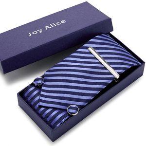 Free postage Tie For Men Extra Long Size 145cm*8cm Necktie Blue Paisley Silk Jacquard Woven Neck Tie Suit Wedding Party gift box