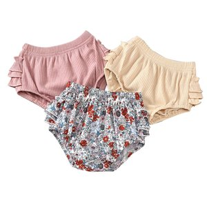 Colors Girls Ruffle Toddler Floral Printed Baby Solid Shorts Kids Bebe PP Casual Outfits Shorts Clothes Pants Pants Vetements Baby 0612 Wwar