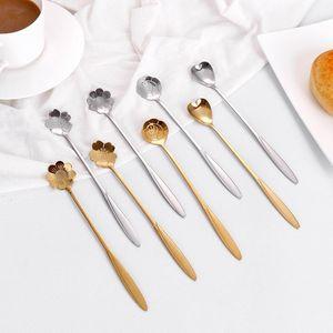 Посуда из нержавеющей стали Свадебные подарки Лепестки Вишневый Blossom Любовь Ложка 19 см Длинная Ручка Ложки XD24492
