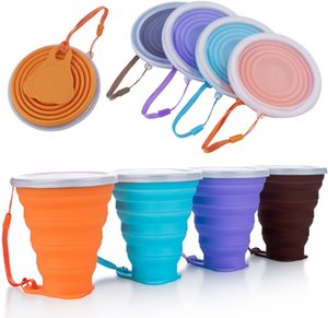 270ML Travel Silicone Folding Cup Stainless Retractable Collapsible Coffee Food Cups with Lid Outdoor Sport Water Drinking Copa Pets Bowl