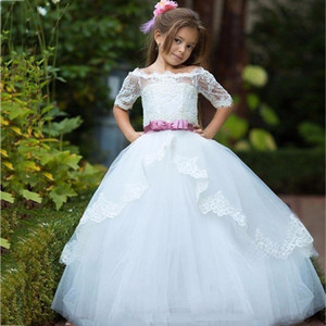 White Lace Flower Girl Dresses with Half Sleeve First Holy Communion Dresses For Girls Ball Gown for Christmas Party 2017