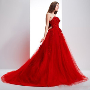 Elie Saab Red Evening Dresses Elegant A Line Applique Sweetheart Cheap Prom Gowns Custom Made Party Dress robes de soiree