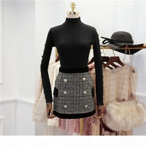 Fall Winter New Suit Set Women's Long Sleeves Lion Buttons Knitting Pullover Sweater Plaid Skirt Set