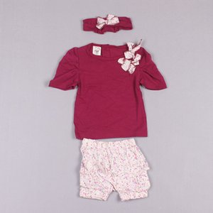 Clearance sale 5sets Baby costume Baby bow headband + shirt+ pant children's costume,Baby t-shirt+pants Baby suit Z134