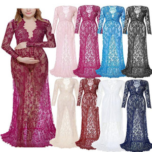 Through Dresses Deep V Neck Long Sleeve Trumpet Maternity Dress Fashion Sexy Pregnant Woman Wedding Photography Dresses Womens Lace See