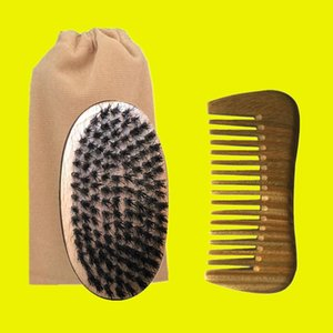 New Boar Bristle Palm Brush & Wide Wood Comb Cotton Bag Set 3in1 Travel Carry Makeup Fashion Hair Care Styling Tool Men Beard Grooming