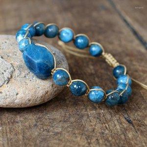 Natural apatite pulseira frisada mulheres homens cordas trançadas charme yoga cura energia amizade pulseira handmade jóias1