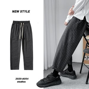 Privathinker Koreli erkek Çizgili Harem Pantolon Streetwear Adam Rahat Gevşek Pantolon Japon Erkekler Siyah Gri Pantolon Artı Boyutu