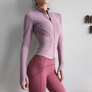free shipping sports coat women's long sleeve tight jacket web celebrity fitness top running speed dry fall winter style zipper yoga suit