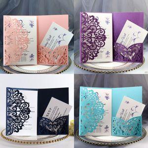 Свадебные пригласительные карты Наборы весенний цветок лазерный нарезка карманный свадебный пригласительный билет для участия в сфере рождения день рождения 10 p2
