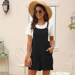 Новые моды Playsuits Streetwear Карманные карманы Сплошная Broadcloth Msfilia # qj7x